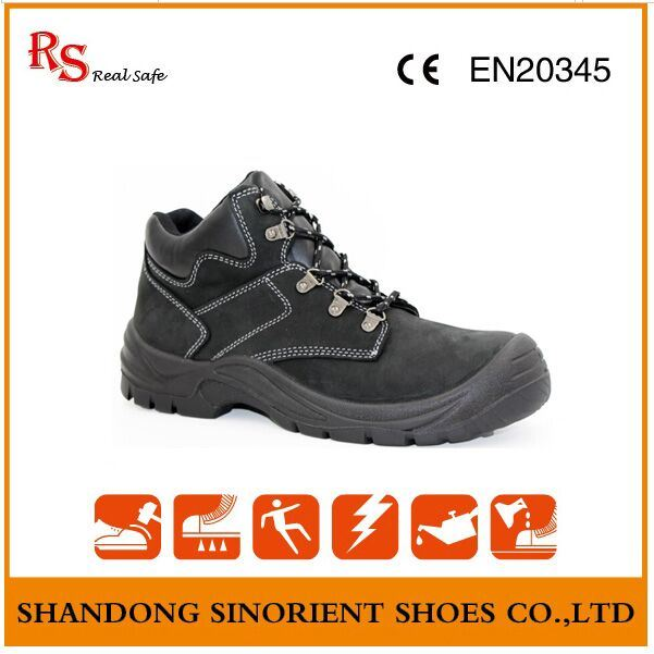 Waterproof Nubuck Leather Black Hammer Safety Shoes RS151