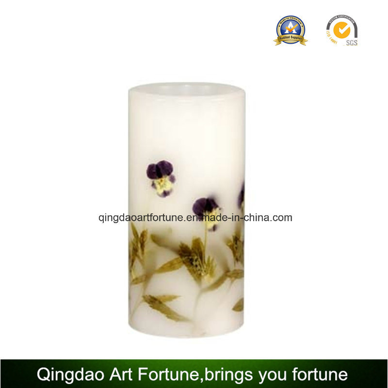 Flameless LED Wax Candle with Decal Flower