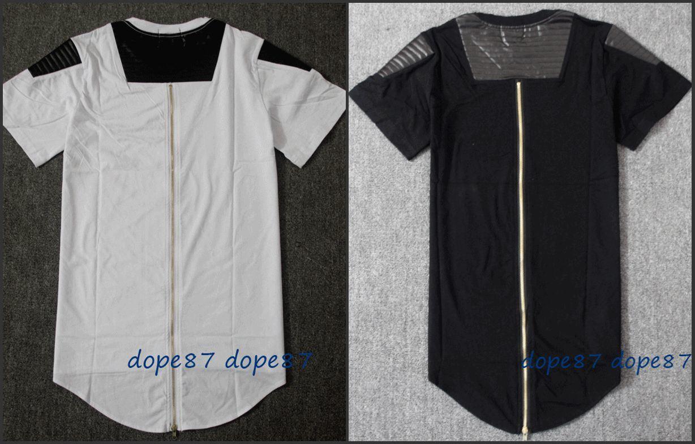 Black t shirt with zipper - Black Long Zipper T Shirt Leather Patchwork