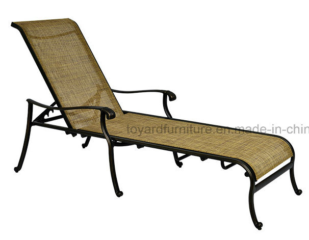 USA Style New Hotel Patio Pool Leisure Sun Lounger with Sling Mesh Back Recliner Brown Finish
