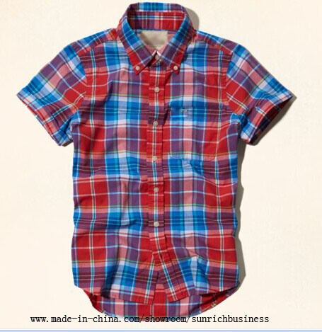 Men′s Cotton Casual Yarn Dyed Plaid Shirt (SM14103)