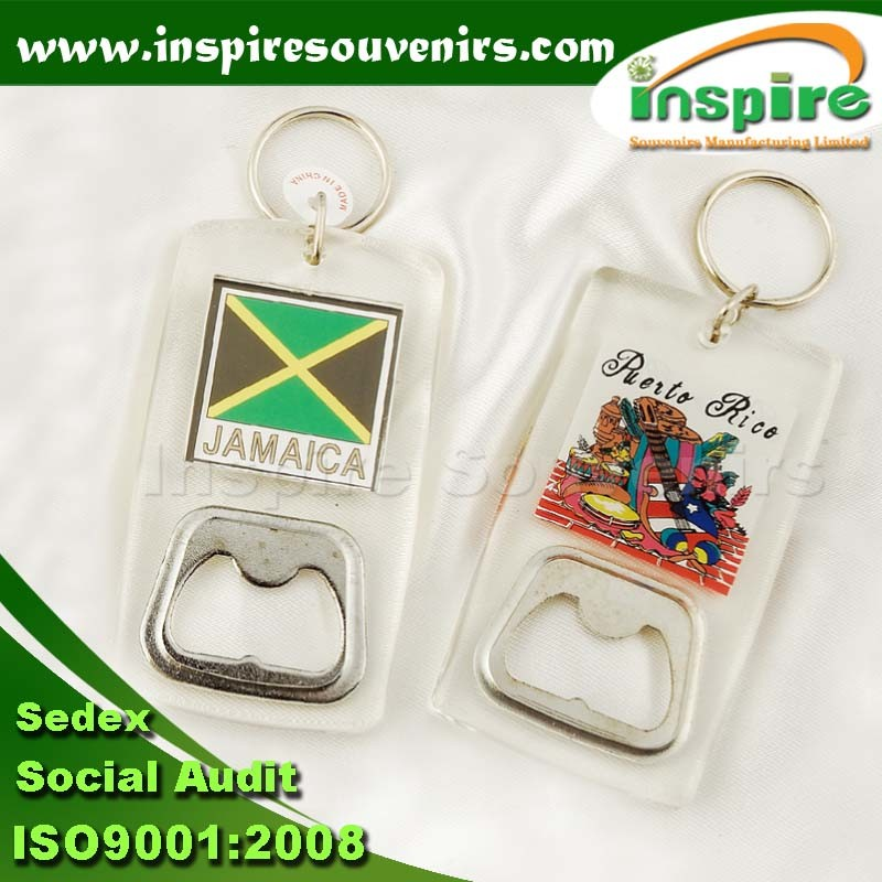 Promotional Acrylic Bottle Opener Key Ring