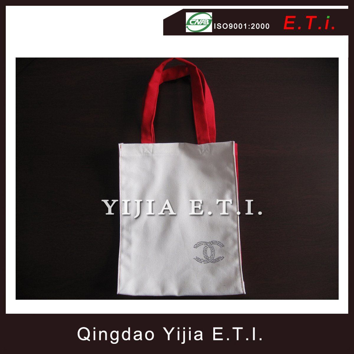 Eco Friendly Cotton Tote Bag with Red Handles