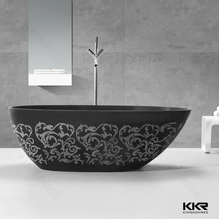 Kingkonree Solid Surface Freestanding Matt Black Bath Tub