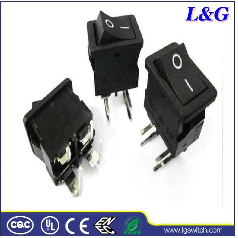 China Dpst 12A Right Angle Terminals Push Micro Rocker Switch for ...