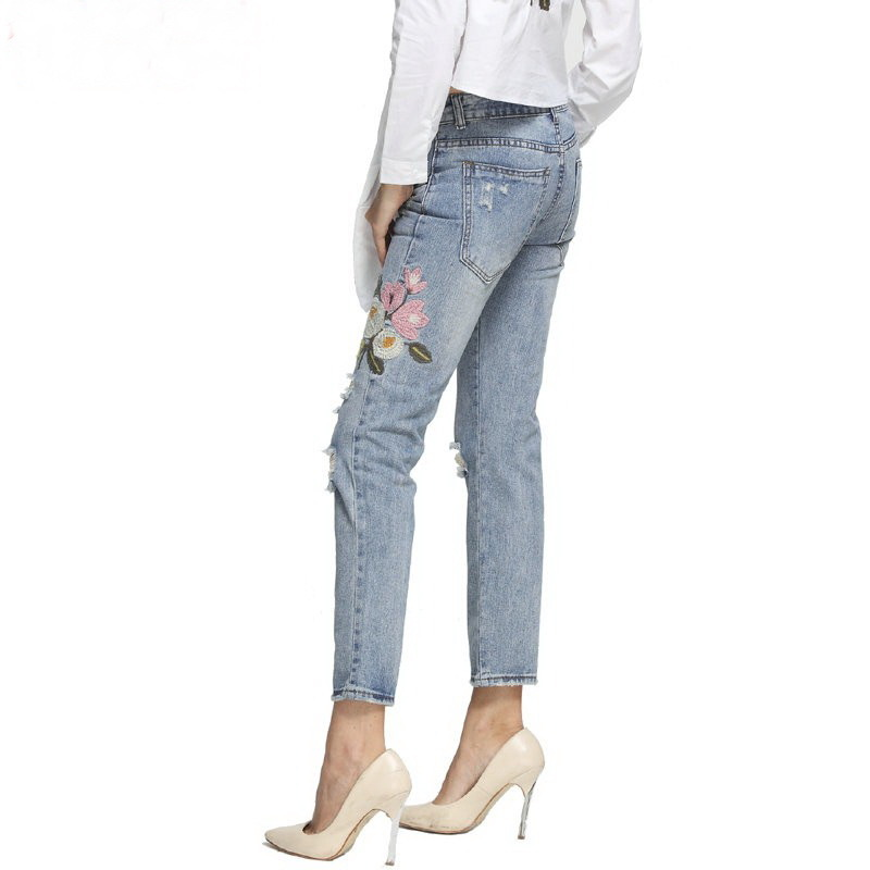 Women Ripped Embroidery Jeans Lady Blue Denim Jeans