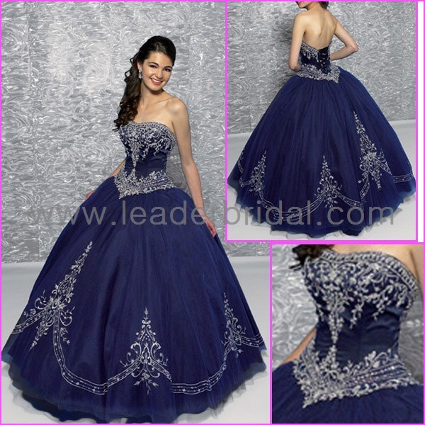 china strapless navy blue embroidery quinceanera dress