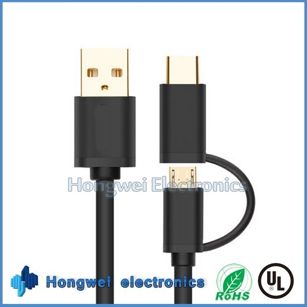New Design Aluminum Micro and Type C 2 in 1 USB Cable