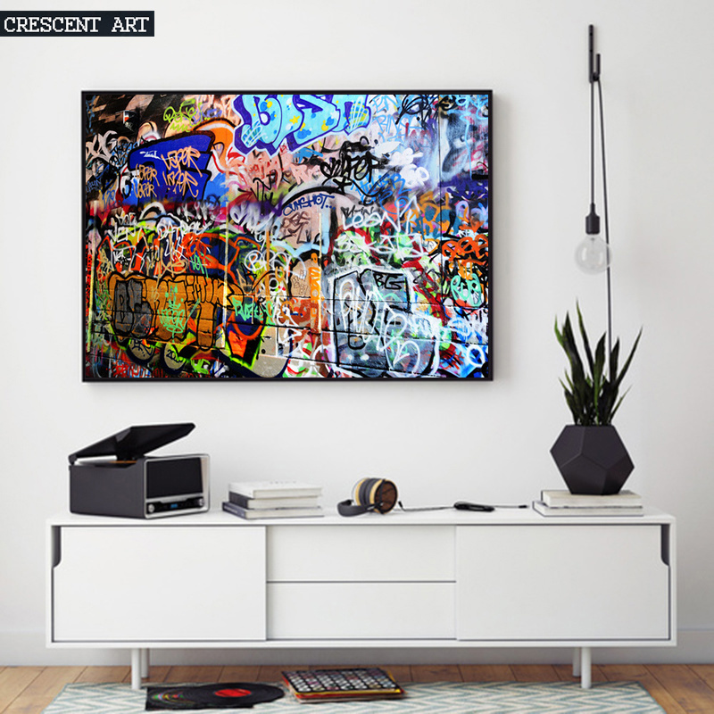 2017 New Graffiti Poster Wall Art Cotton Print Oil Painting