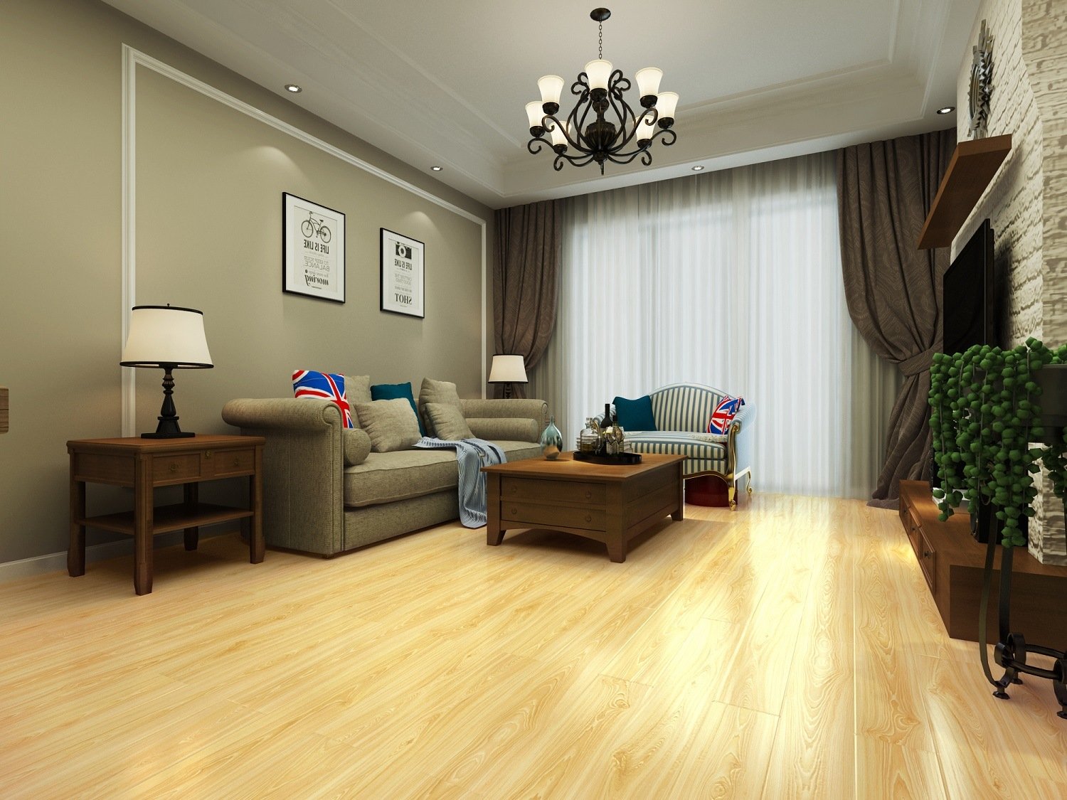 12mm Waterproof Embossed Parquet Laminate Flooring for Living Room