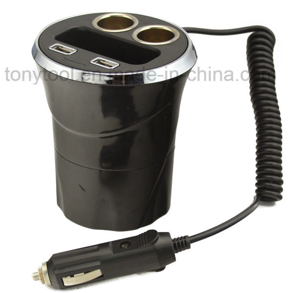 12V 2 USB Ports Cup Car Cigarette Lighter with 2 Socket