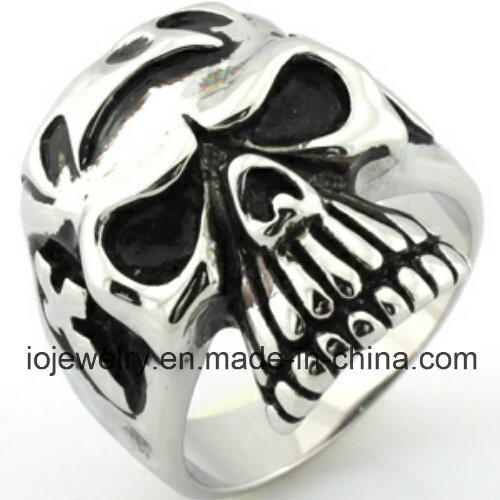 Fashion Custom 316L Stainless Steel Rings Men′s Skull Jewelry