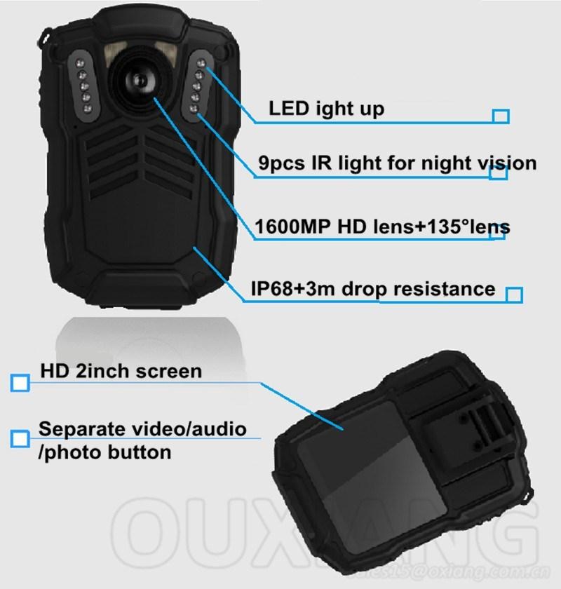 HD 2.0inch Portable Night Vision Police Enforcement Recorder Police DVR Camera