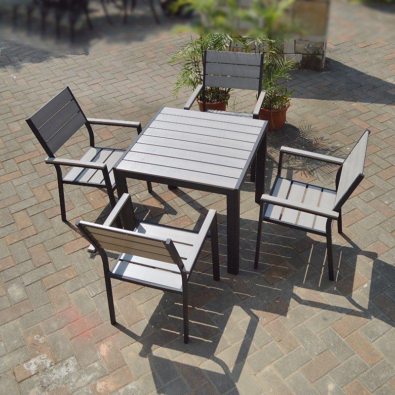 Patio Outdoor Furniture Aluminum Plastic Wood Arm Chair Table (J806)