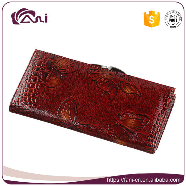 Crocodile Grain Wallet with Printed Butterfly, Woman Genuine Leather Wallet High Quality