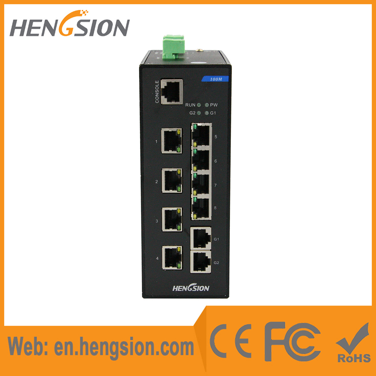 8 Megabit and 2 Gigabit Tx Industrial Ethernet Network Switch