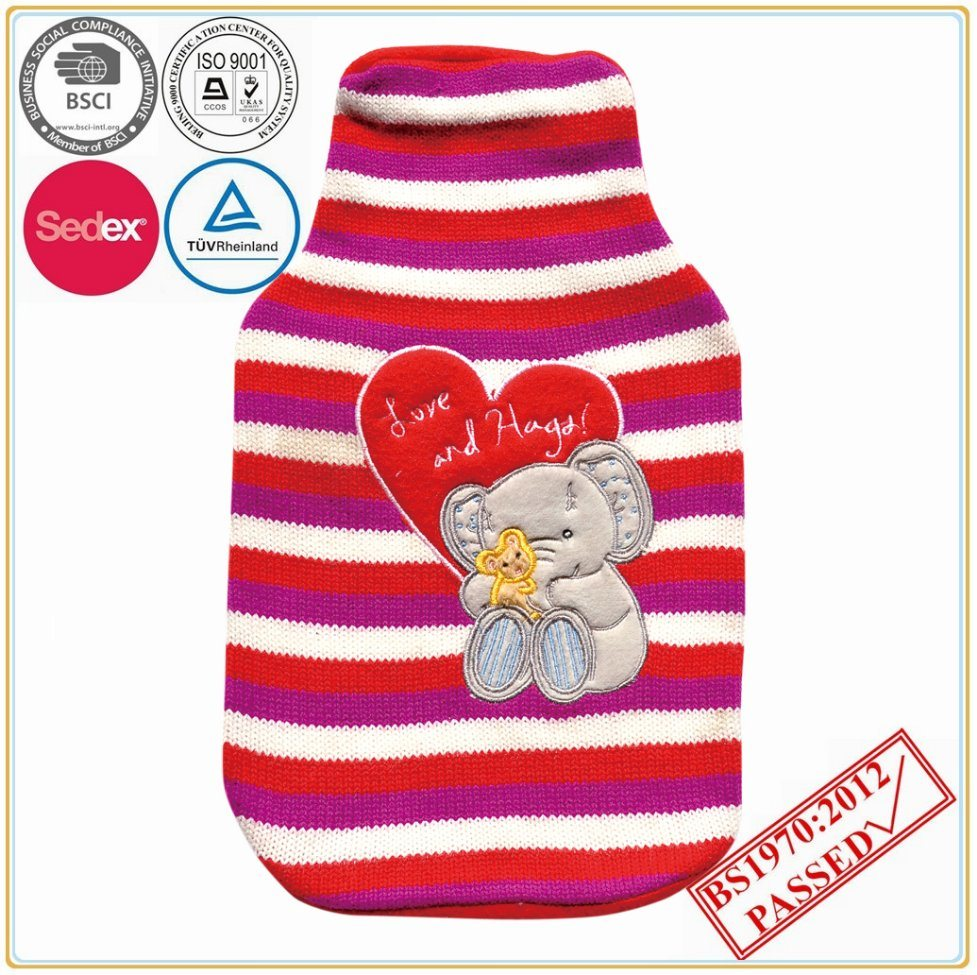 2L Hot Water Bottle with Bear Design Knitted Cover