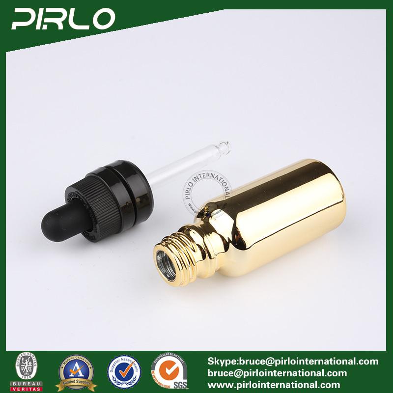 20ml 30ml 50ml 100ml Gold Glass Essential Oil Bottles E-Liquid Dropper Bottles
