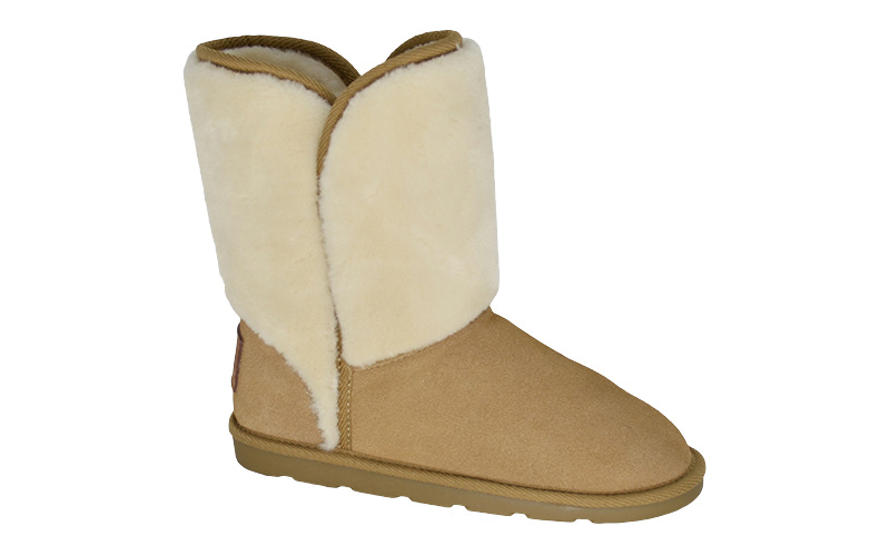 Women′s Suede Low Boot with Fake Fur Shaft