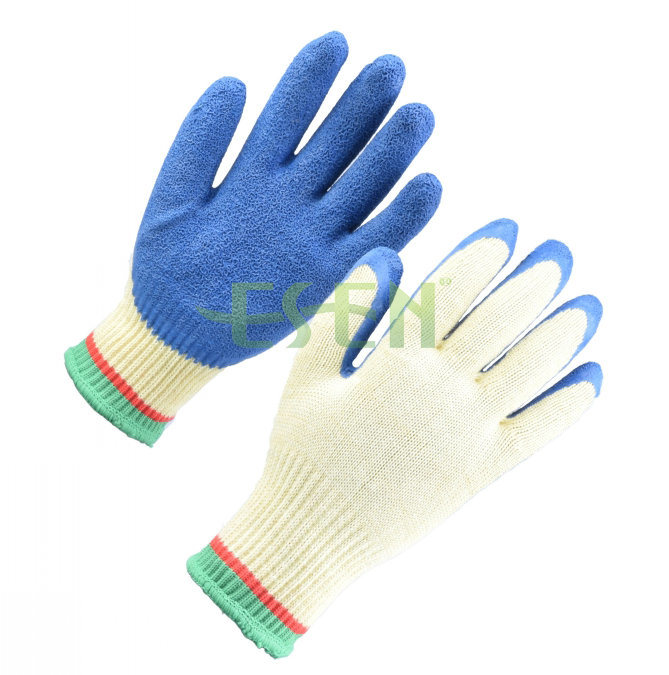 10 Gauge Bleach Cotton/Polyester Liner blue Rubber Coated on Palm Work Glove