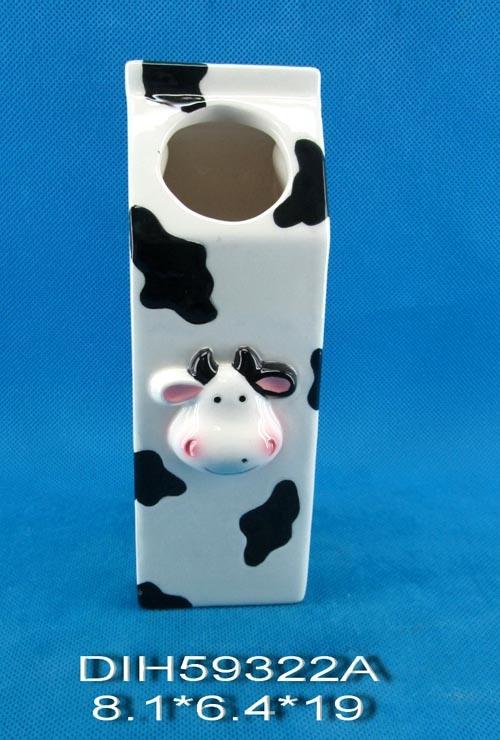 Hand-Painted Ceramic Cow Flower Vase