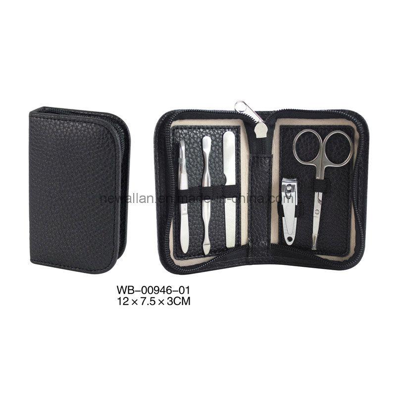 5PCS Manicure Tools Black Leather Small Travel Manicure Pedicure Set