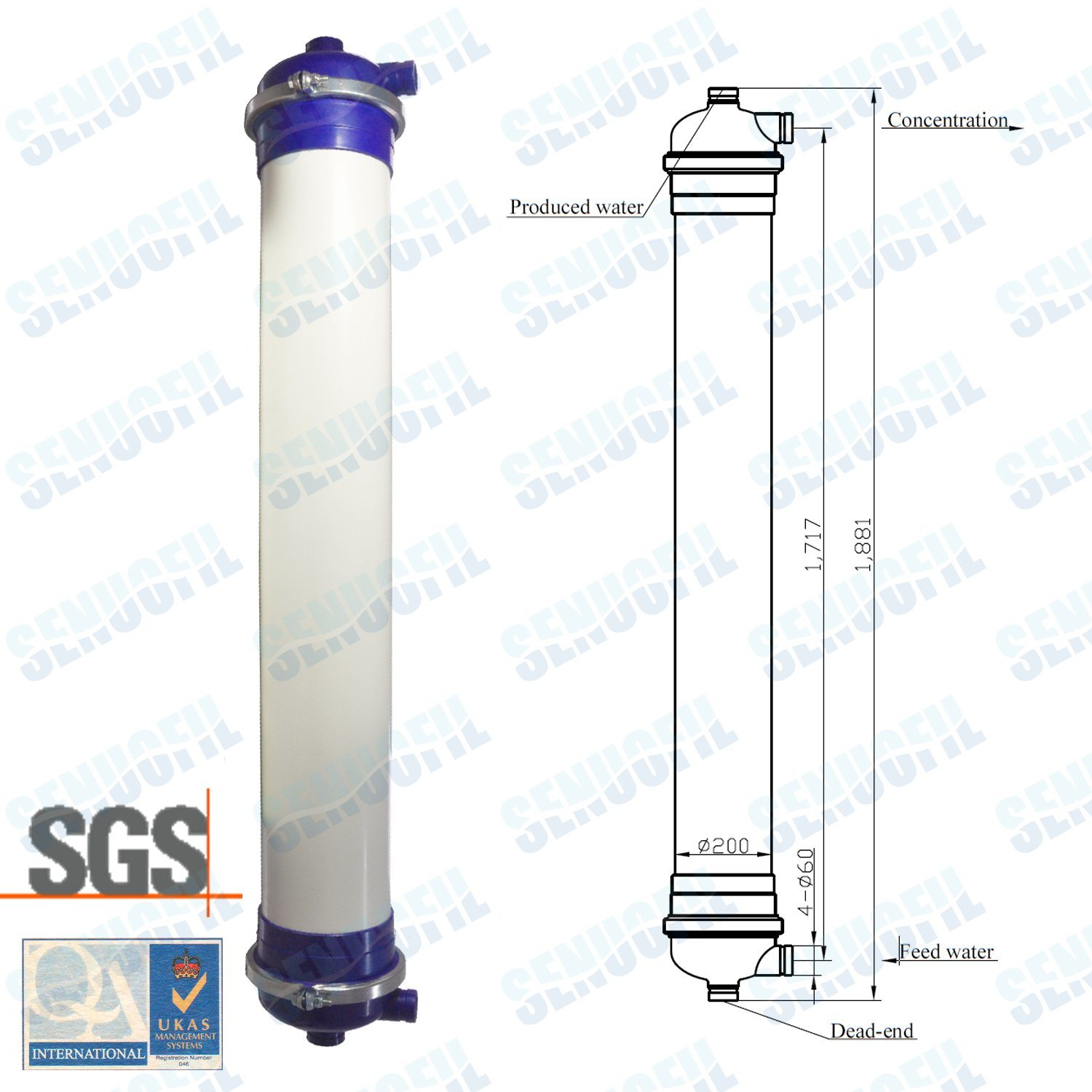 8 Inch Inside-out Pes UF Membrane Module for Water Treatment