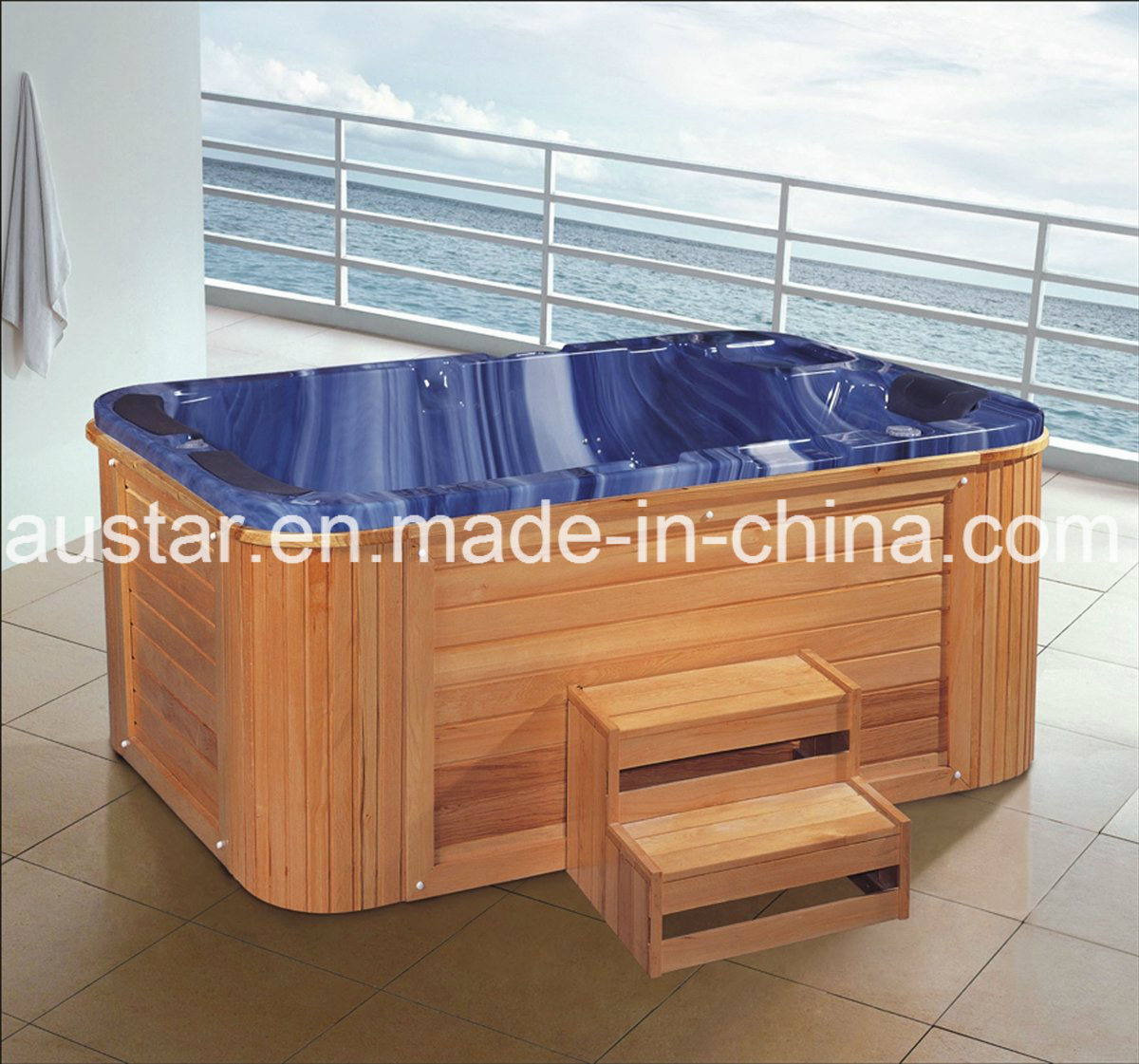 1900mm Free Standing Blue Outdoor SPA for 3 People (AT-1935)