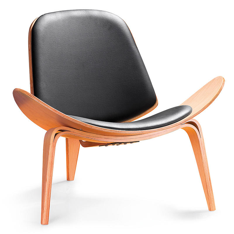 Shell Chair Living Room PU Leather and Wood Chair (K25)