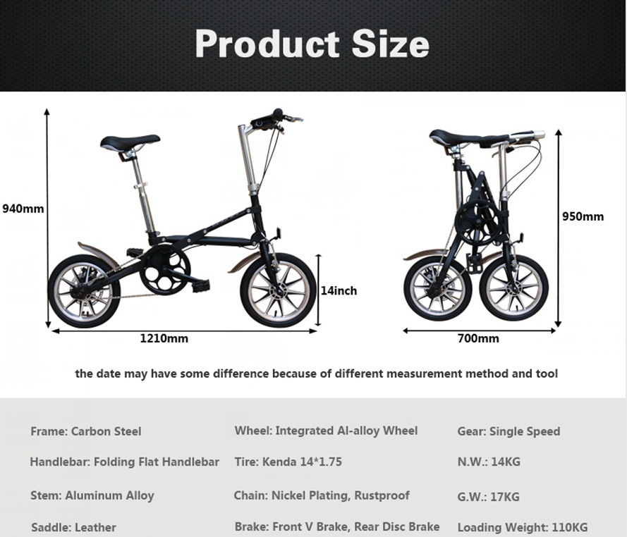 14 Inch Bike Two Wheels Folding Portable Bike