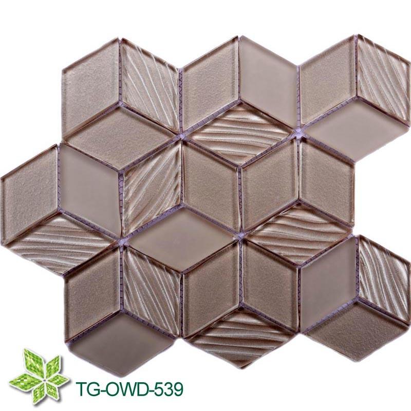 CNC Glass Cutting Polygon Glass Mosaic (TG-OWD-539)