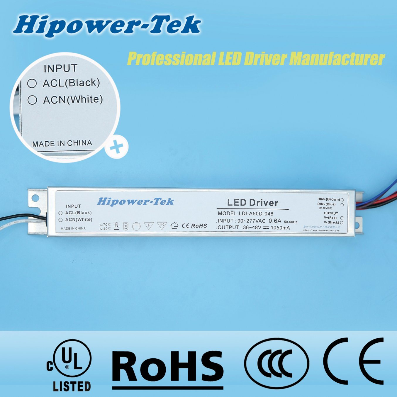 50W Constant Current Aluminum Case Dimmable Power Supply LED Driver