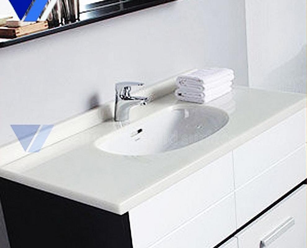 New Design White Modern Acrylic Bathroom Vanity, Corian Wash Basin