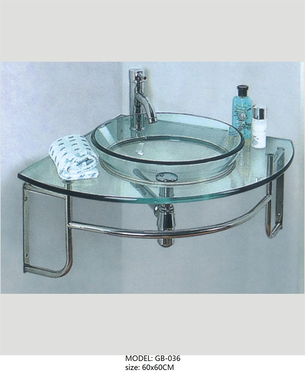 Transparent Glass Wash Basin with Bathroom Accessories