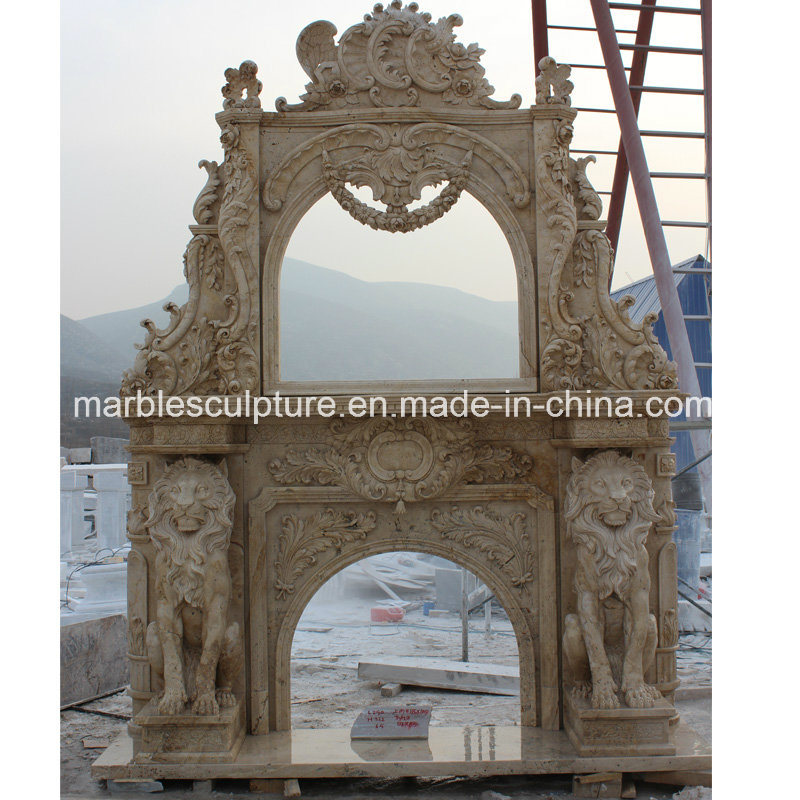 Hand Carved Beige Antique Marble Fireplace Mantel (SY-MF124)