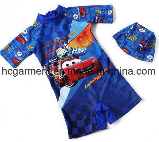 Kids Boy Swimming Suit. Cartoon Printed Jumpsuit Swimming Wear