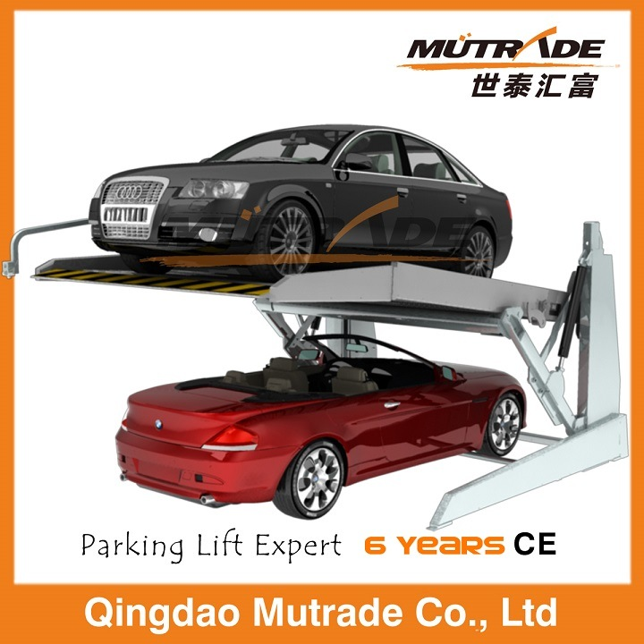 Low Two Post Two Car Mechanical Tilting Parking Lift
