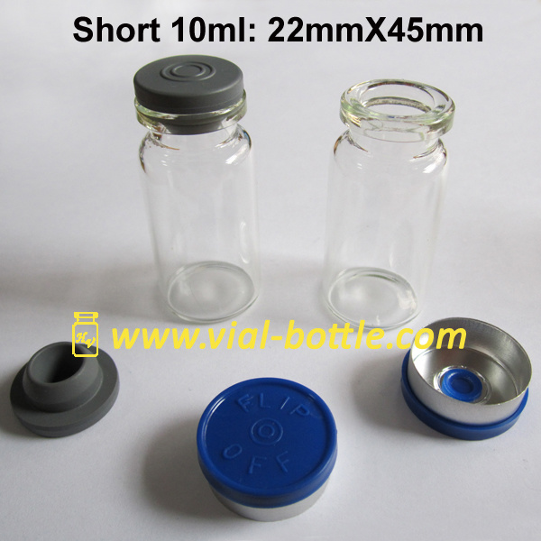 Short 10ml Vial 8ml Glass Vial with Blue Cap and Stopper