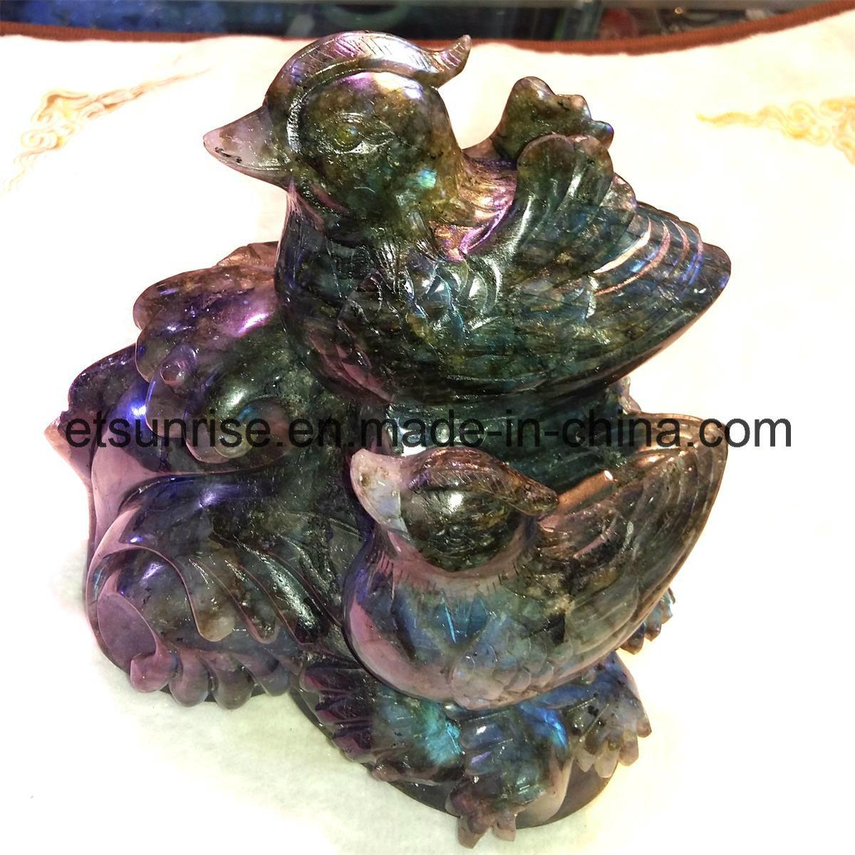 Semi Precious Gemstone Two Lovebird Carving