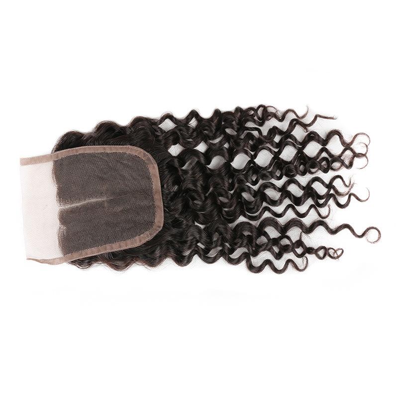 7A Grade Brazilian Deep Wave Lace Closure Virgin Hair Closure 100% Human Hair Free Middle Three Part High Quality Free Shipping