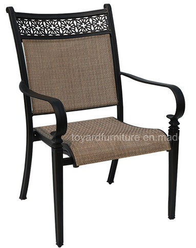 Best Design Heavy Frame Cast Aluminum Sling Outdoor Stackable Dining Chair for Hotel Yard Lawn Deck