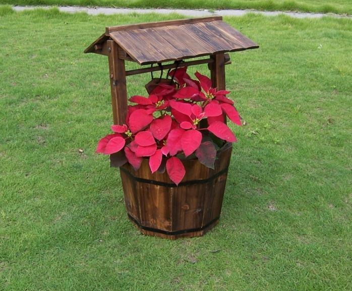 Wooden Wishing Well Bucket Flower Planter Patio Garden Outdoor Decor