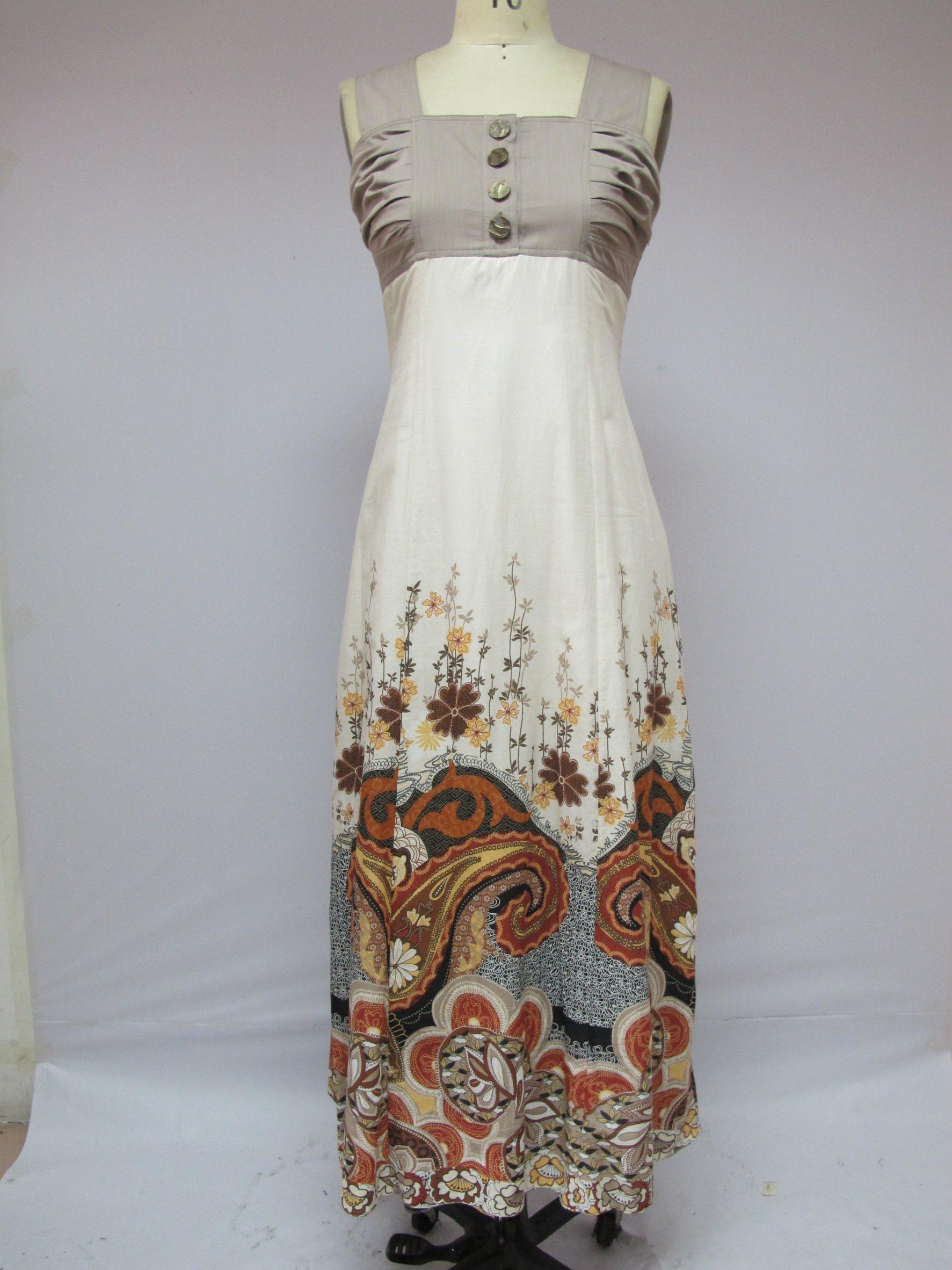 Multicoloured Sleeveless Slimmering-Waist Button Sexy Fashion Ldies Dress