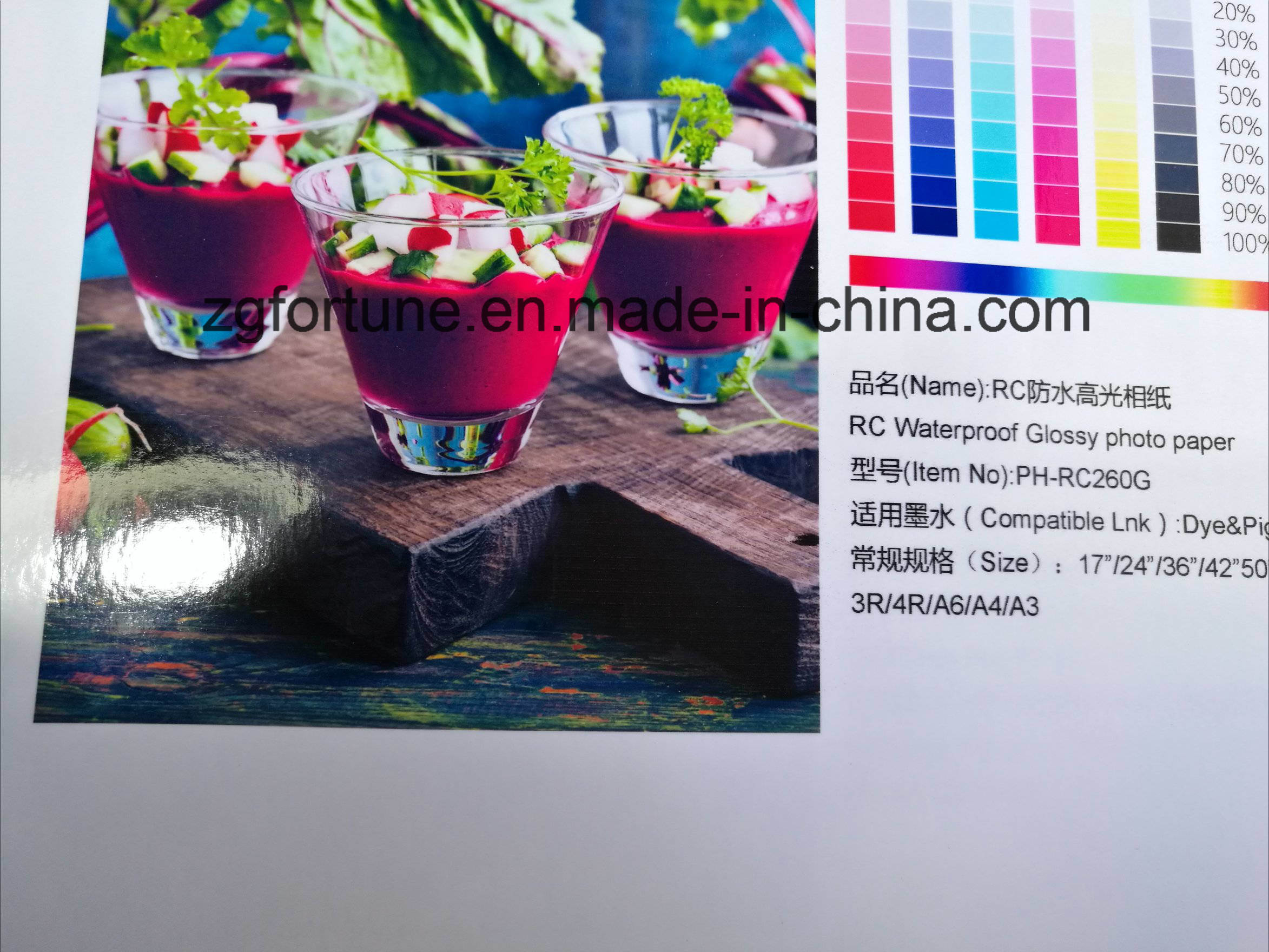 Wholesale 260gms Waterproof High Glossy RC Photo Paper for Dye&Pigment Ink