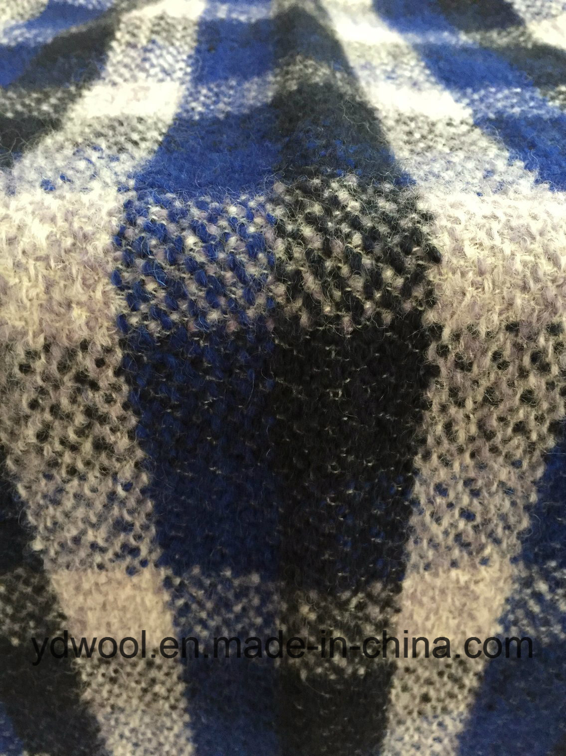 Stock Check Wool Fabric Blue & Black Woollen Cloth