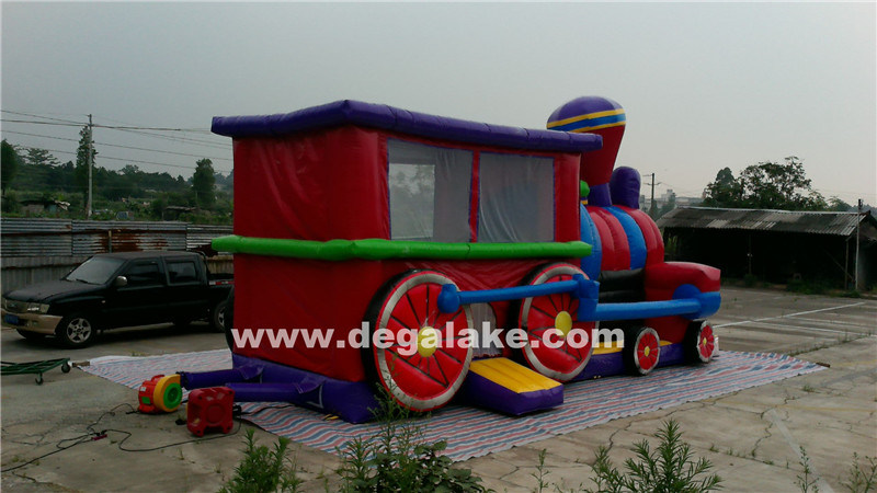 Inflatable Train Bouncy Castle Combo, Train Jumping Bouncer