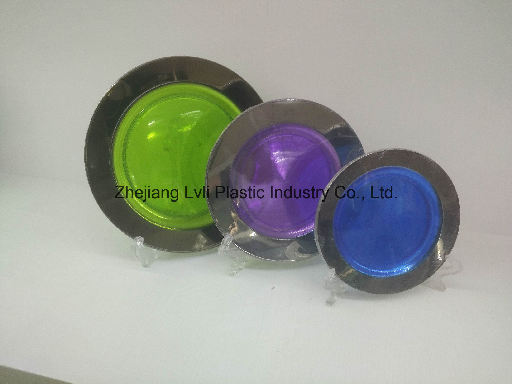 Plastic Plate, Disposable, Tableware, Tray, Dish, Colorful, PS, Transparent, Silver Rim Plate, PA-04