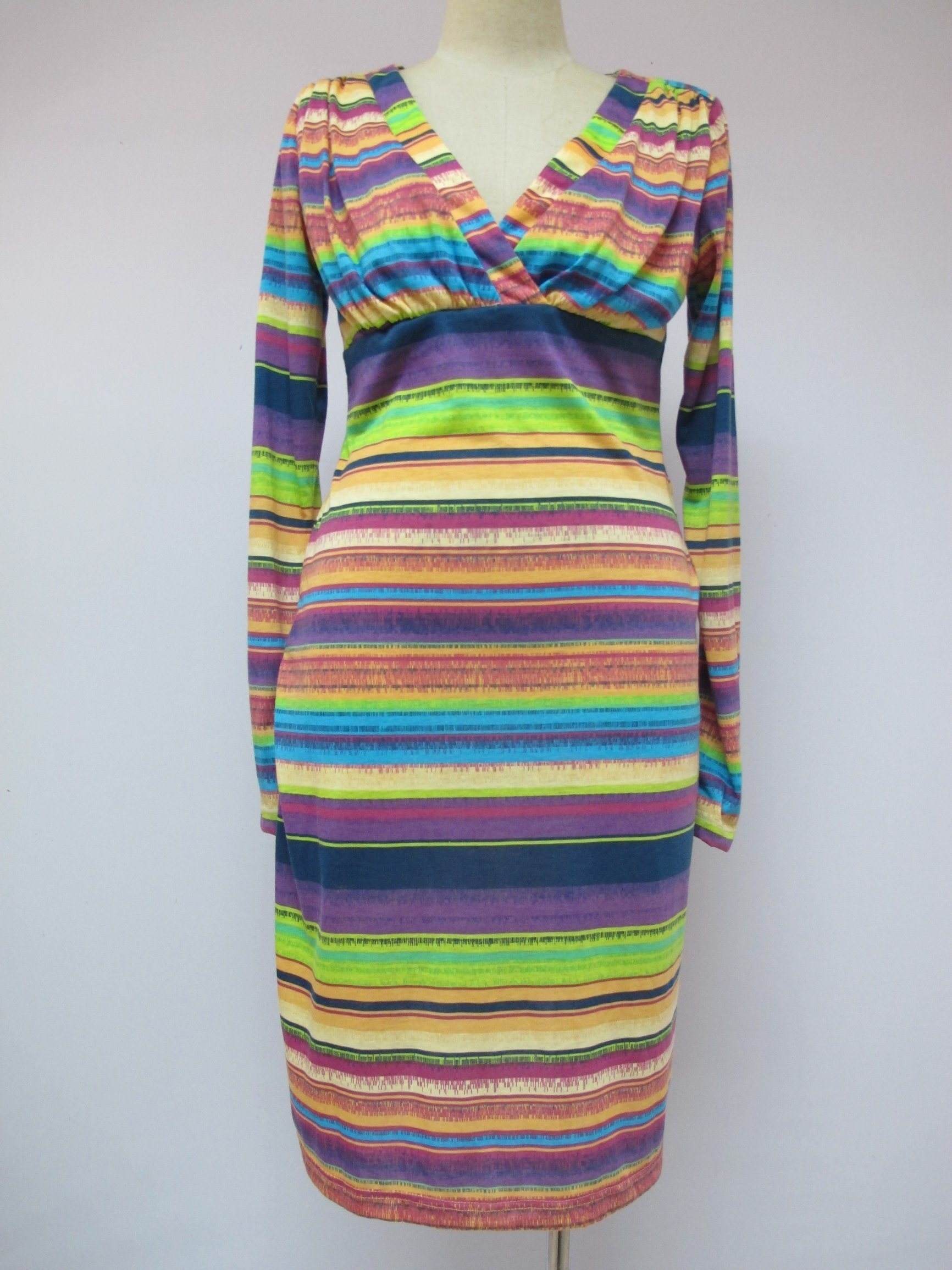 Multicolour Horizontal-Strips Long-Sleeve Decussate V-Neck Sexy Fashion Ladies Dress