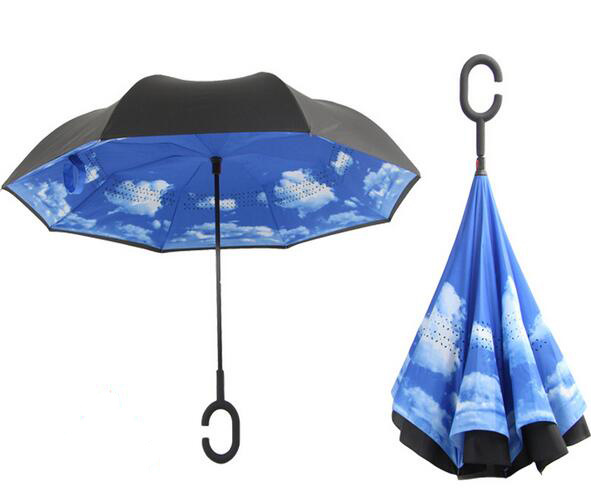 C Holder Reverse Folding Fashion Promotion Lady Women Vinyl Sun Umbrella