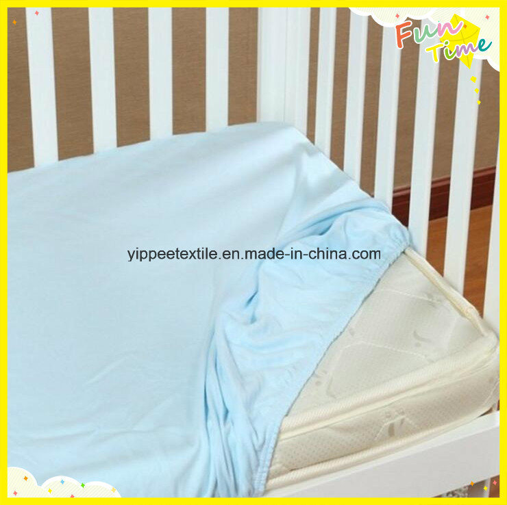 Crib Fitted Sheet Made of 100% Cotton Knitted Jersey Fabric